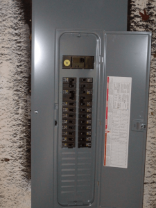 A typical circuit breaker panel.