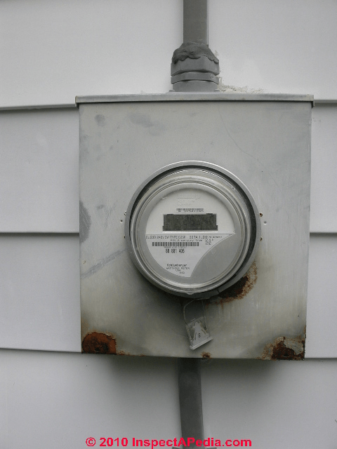 This electric meter's box is heavily rusted.